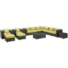 Cohesion 11 Piece Outdoor Patio Sectional Set, Green Plastic