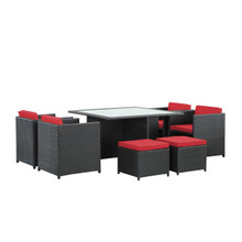 Inverse 9 Piece Outdoor Patio Dining Set, Red Plastic