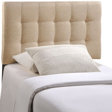 Lily Twin Fabric Headboard, Beige Fabric