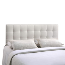 Lily King Vinyl Headboard, White Faux Leather