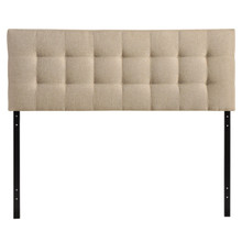 Lily Full Fabric Headboard, Beige Fabric