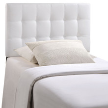 Lily Twin Vinyl Headboard, White Faux Leather