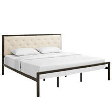 Mia King Fabric Bed Frame, Beige Fabric