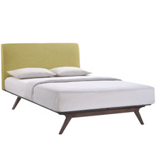 Tracy Queen Wood Bed Frame, Green Fabric