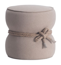 Tubby Living Room Ottoman, Beige Fabric