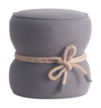 Tubby Living Room Ottoman, Grey Fabric
