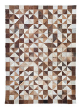 New Mexico Living Room Rug, Brown Cowhide Leather
