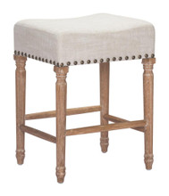Anaheim  Counter Stool, Beige Fabric & Studs, Set of 2