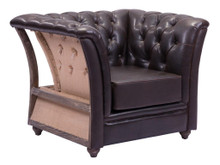 Rodeo Drive Living Room Arm Chair, Brown Leatherette