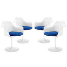 Lippa Dining Armchair Set of 4, Blue Plastic