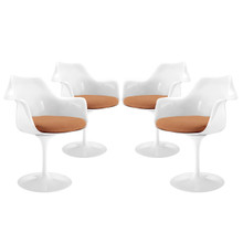 Lippa Dining Armchair Set of 4, Orange Plastic