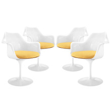 Lippa Dining Armchair Set of 4, Yellow Plastic
