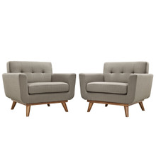 Engage Armchair Wood Set of 2, Grey Fabric