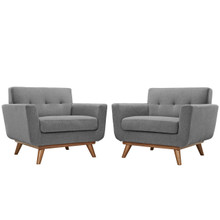Engage Armchair Wood Set of 2, Fabric Grey