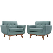 Engage Armchair Wood Set of 2, Blue Fabric