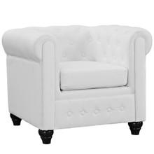 Earl Vinyl Armchair, White Faux Leather