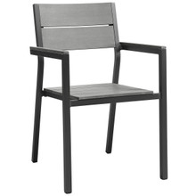 Maine Dining Outdoor Patio Armchair, Brown Grey Steel