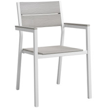 Maine Dining Outdoor Patio Armchair, White Light Grey Steel