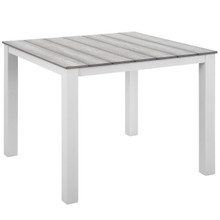 "Maine 40"" Outdoor Patio Dining Table, White Light Grey Steel"