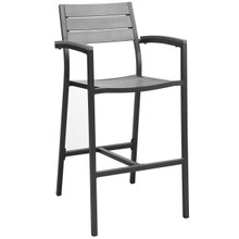 Maine Outdoor Patio Bar Stool, Brown Grey Steel