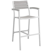 Maine Outdoor Patio Bar Stool, White Light Grey Steel