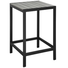 Maine Outdoor Patio Bar Table, Brown Grey, Steel