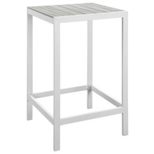 Maine Outdoor Patio Bar Table, White Light Grey, Steel
