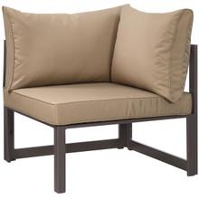 Fortuna Corner Outdoor Patio Armchair, Brown Fabric Steel