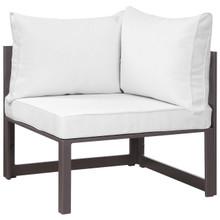 Fortuna Corner Outdoor Patio Armchair, Brown White Fabric Steel