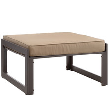 Fortuna Outdoor Patio Ottoman, Brown Fabric Steel