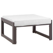 Fortuna Outdoor Patio Ottoman, Brown White Fabric Steel
