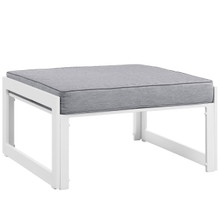 Fortuna Outdoor Patio Ottoman, White Grey Fabric Steel