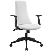 Fount Mid Back Office Chair, White Faux Leather
