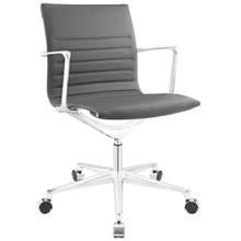 Vi Mid Back Office Chair, Grey Faux Leather