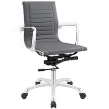 Runway Mid Back Office Chair, Grey Faux Leather