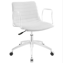 Celerity Office Chair, White Faux Leather