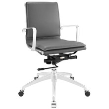 Sage Mid Back Office Chair, Grey Faux, Leather