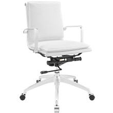 Sage Mid Back Office Chair, White Faux, Leather