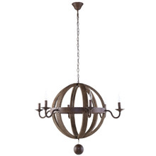 Catapult Chandelier, Brown Wood