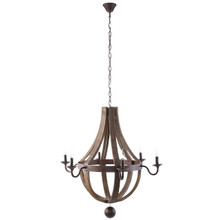 Ballista Chandelier, Brown Wood