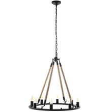 Encircle Chandelier, Black Steel