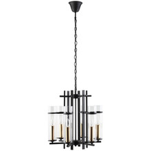 Chime Metal Chandelier, Black Steel