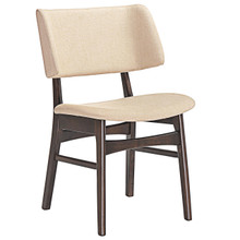 Vestige Dining Side Chair, Brown Beige Wood Fabric