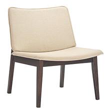 Evade Lounge Chair, Brown Beige Wood Fabric