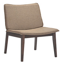 Evade Lounge Chair, Brown Wood Fabric
