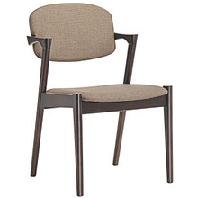 Spunk Dining Armchair, Brown Wood Fabric