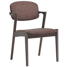 Spunk Dining Armchair, Brown, Wood Fabric