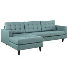 Empress Left-Arm Sectional Sofa, Blue Fabric