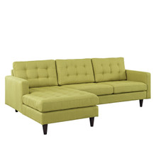 Empress Left-Arm Sectional Sofa, Green Fabric
