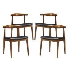 Tracy Dining Set of 4, Black Faux Leather